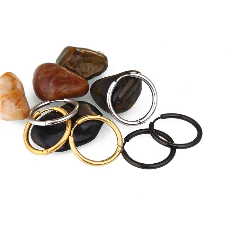 Classic Diameter 8mm 20mm Golden Black Silver Round Hoop Earrings For Male Stainless Steel Alloy Earring Women in Hoop Earrings from Jewelry Accessories