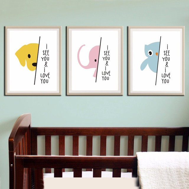 New Nursery Art Print Elephant Cute Baby Gift Safari Modern Babys Room Canvas Posters Painting Wall Pictures No Frame