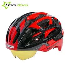 Rockbros Cycling Helmet Goggles 3 Lens 32 Vents Integrally Molded Sport Bicycle Helmet Road MTB Helmet Capacete Ciclismo