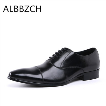 New genuine leather dress shoes men oxfrods pointed toe lace up mens wedding shoes man high grade office work shoes size 37 44