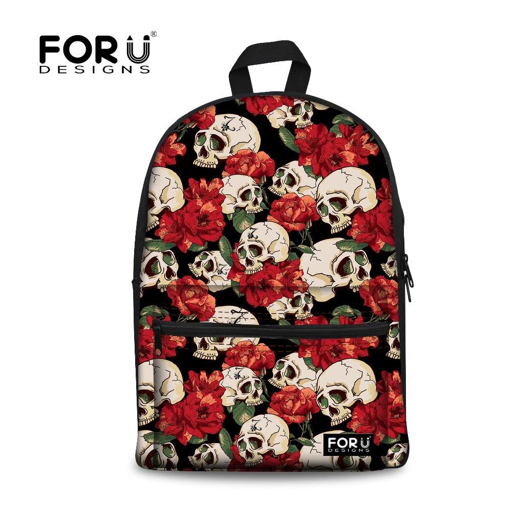 FORUDESIGNS Cool Skull Printing Backpack for Teen Girls 2017 Children School Backpacks Women School Bags Students