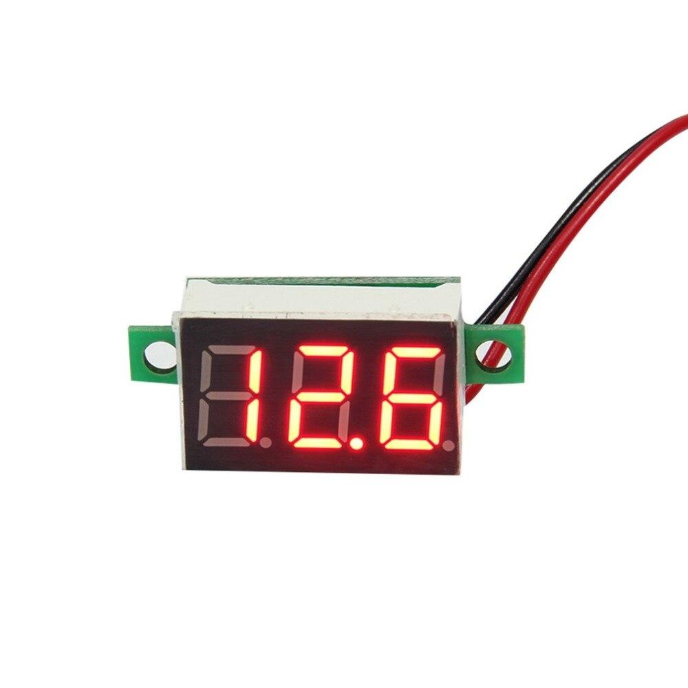 1PC mažas raudonas LED skydinės įtampos matuoklis 3-skaitmeninis reguliavimo voltmetras 3-skaitmeninis reguliavimo voltmetras 200 ms / laikas