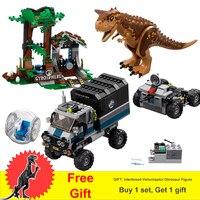 Jurassic World Park 2 Dinosaur Figures Carnotaurus Gyrosphere Escape Truck Animal Building Blocks Toys Gifts Fit Legoness 75929