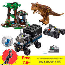 Jurassic World Park 2 Dinosaur Figures Carnotaurus Gyrosphere Escape Truck Animal Building Blocks Toys Gifts Fit 75929(China)