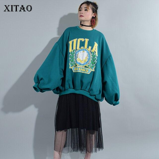 [XITAO] New 2017 Autumn Europe Women Lantern Sleeve Letter Print Loose Sweatshirts Female Full Sleeve O-Neck Sweatshirts XWW580