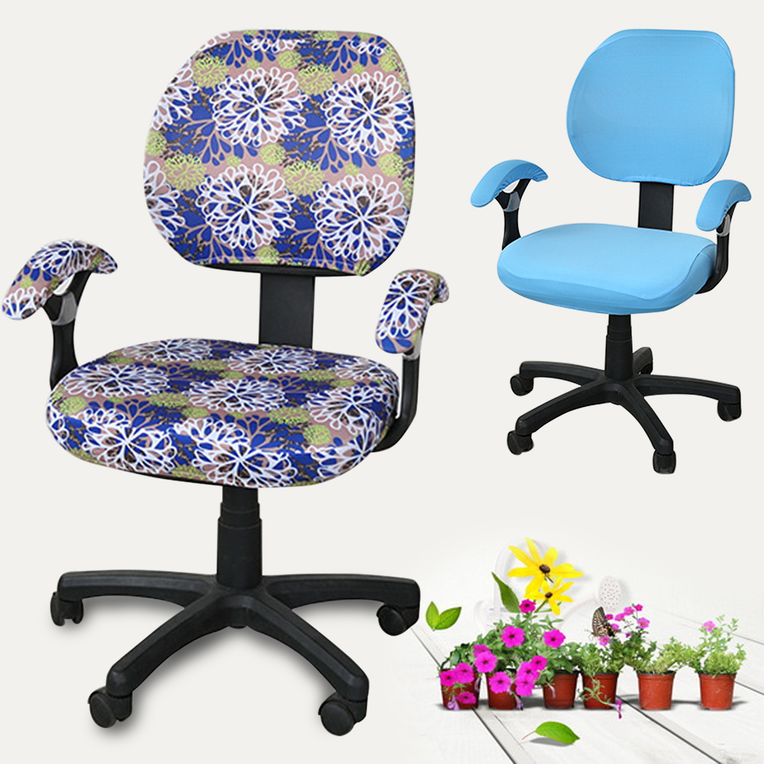 Stretch Spandex Flower Printed Removable Chair Covers Armrest Cover