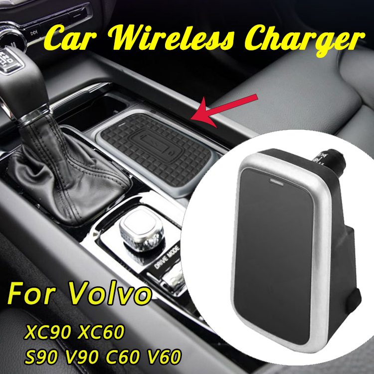 12V 10W Car Qi Wireless Fast Charger For Volvo XC90 XC60 S90 V90 C60 V60 USB Charger For iPhone X Max For Samsung Phone Holder12V 10W Car Qi Wireless Fast Charger For Volvo XC90 XC60 S90 V90 C60 V60 USB Charger For iPhone X Max For Samsung Phone Holder