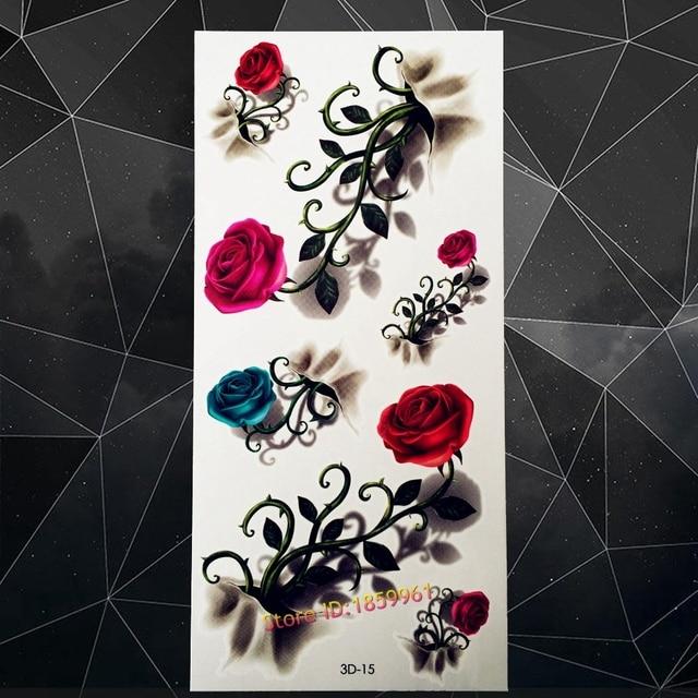 b7940752afcae New Sex Women Fake Tattoo Stickers Jewelry A3D-15 Girls Flower Henna Vine  Red Pink 3D Roses Waterproof Tattoo Stickers