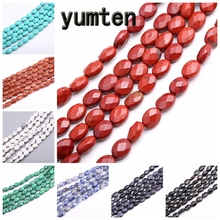 Yumten Oval Jasper Beads DIY Natural Stone Bracelet Necklace Tbsidian Opal Agate Jewelry Making Bead Personalized Accessories