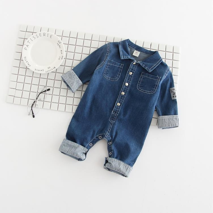 цена  new fashion spring autumn 0-4 years old Infant Cute clothing young girls boys jean Rompers clothes baby Denim jumpsuits  онлайн в 2017 году