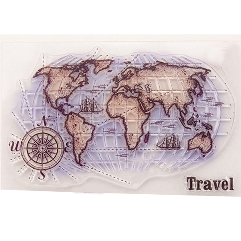 EZLIFE Global Map Transparent Clear Silicone Stamps For DIY - Map making for kids