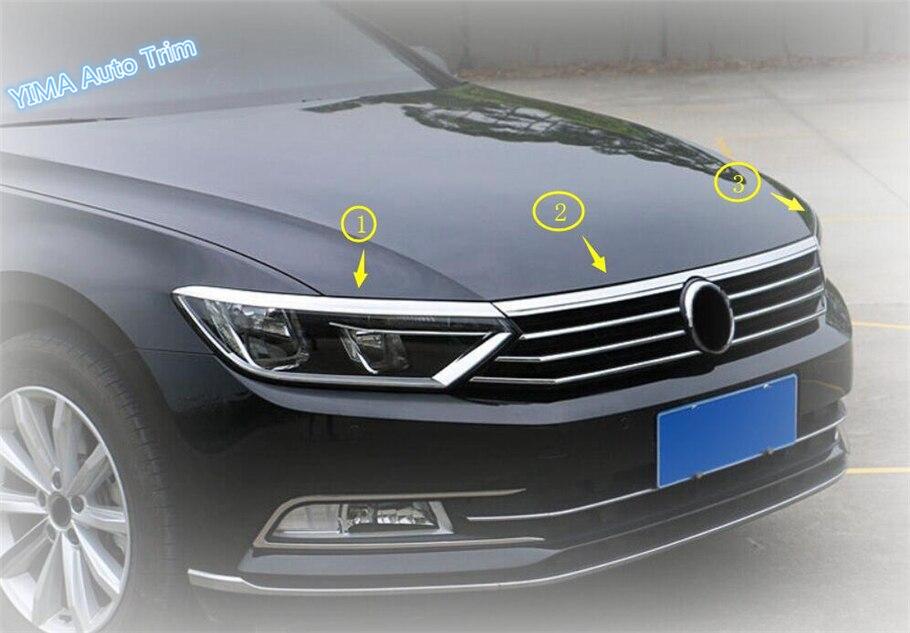 Lapetus Auto Styling Front Hood Engine / Head Lights Lamp Eyelid Eyebrow Cover Kit For Volkswagen Passat B8 2016 2017 2018