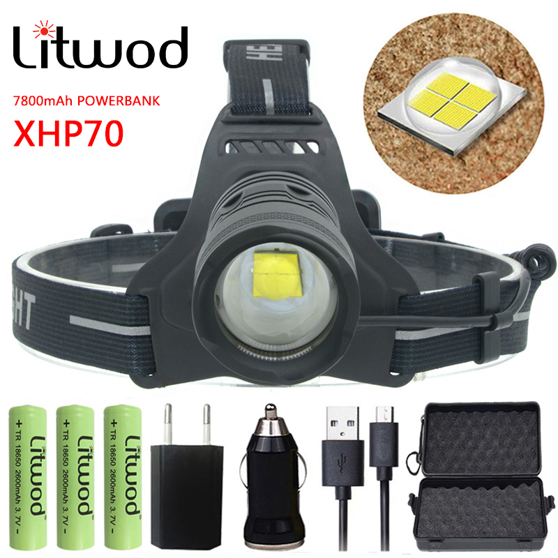 Portable Lighting Devoted Litwod Z202810 Original Cree Xlamp Xhp70 32w Chip High Power Led Headlamp 4292lm Powerful Headlight Head Lamp Flashlight Torch Rich And Magnificent Lights & Lighting