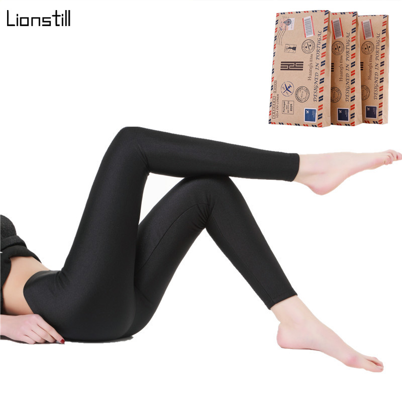 BLACK Glossy Leggings Shiny Pants Design Trousers Slim Super Elastic Thin Legs