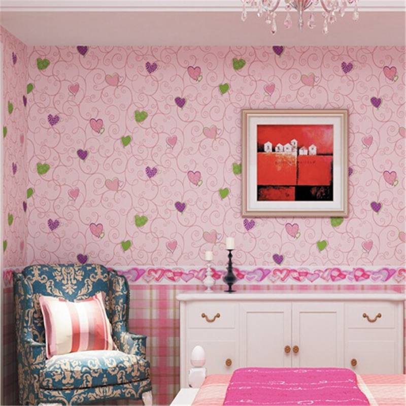 beibehang  Colors Modern kid wallpaper for girls room walls mural room child wallpaper for living room background wall pink blue
