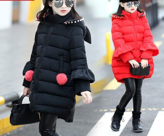 2016 caliente para niños por la chaqueta para niñas ropa 2016 de la Muchacha de Largo Fondo Engrosamiento niños ropa de Abrigo Suelto Sombrero Mágico parka