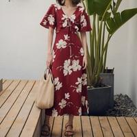 2019 Summer Women Dress Printing Long dress Female Holiday Beach Dress V neck High Waist Maxi Chiffion Dress Ladies Bohemia