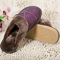 6 Цветов Новое Прибытие Зимние Натуральная Кожа Домашние Тапочки Крытый Напольные Тапочки Ноги Теплые Хлопковые нескользящей Плоские обувь
