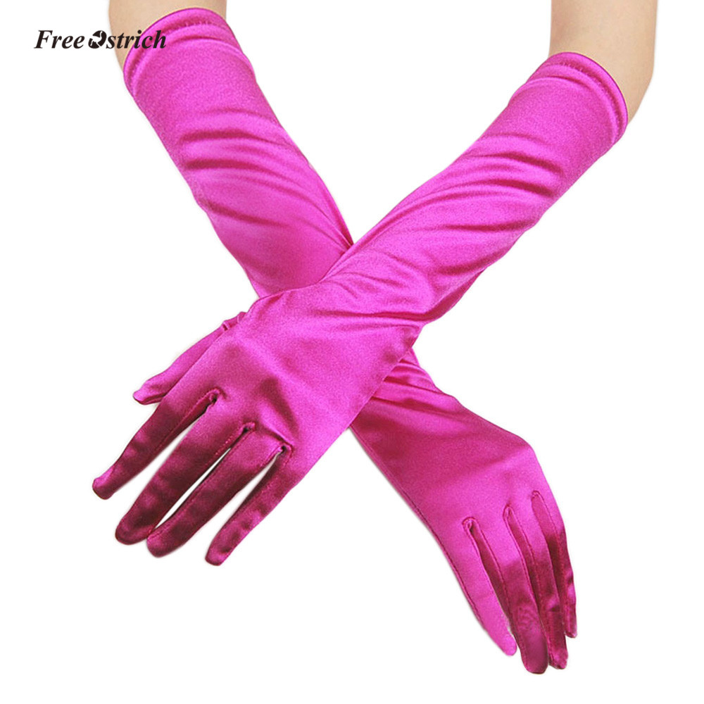 Free Ostrich Soft Gloves Womens Satin Long Gloves Opera marriage Bridala Evening Party Prom Gloves High Quality elegant gloves