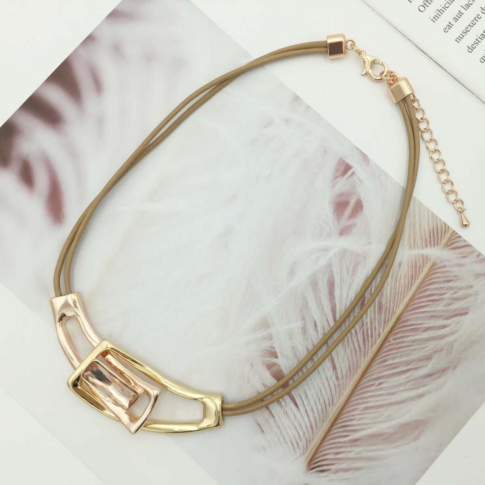 Unique Fashion Alloy Statement Necklaces & Pendants Leather Chain Collar Choker Necklace For Women Indian Jewelry manilai trendy arc hollow metal big torque choker necklaces women indian geometric collar statement necklace jewelry wholesale