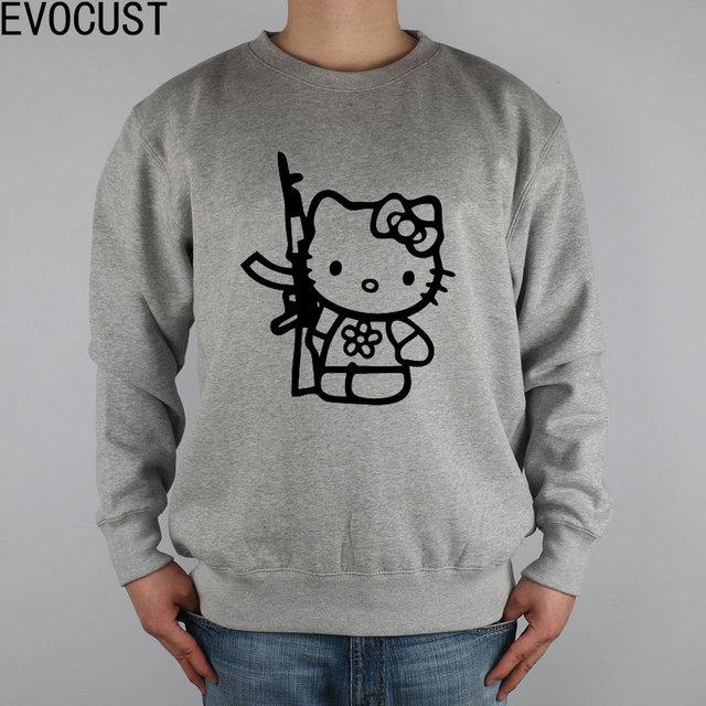 da7edfb7f Hello Kitty With Gun Decal Vinyl Sticker men Sweatshirts Thick Combed Cotton