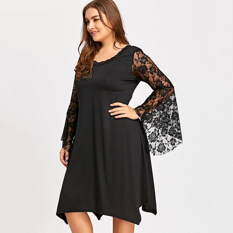 ... Rimiut Women Big Size Lace Sleeve Dress Elegant Beach Summer Flare  Sleeve Plus Size Party Dress ... b5a287d8cae4