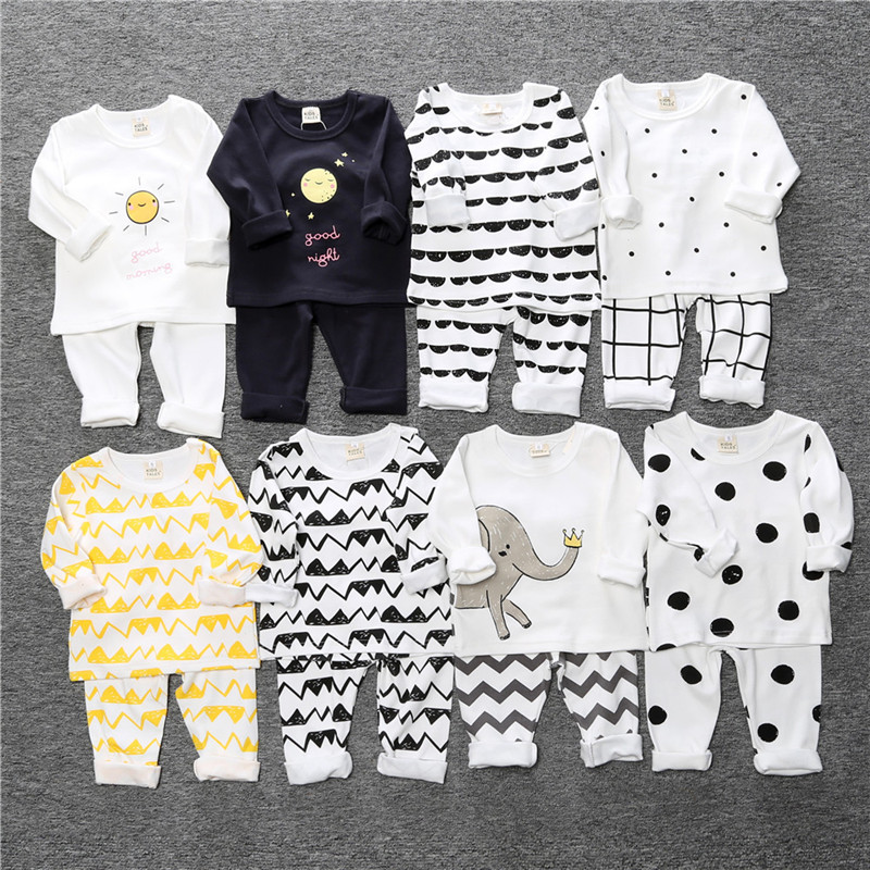 2018 Hot Sale Cotton Baby Boy Clothes Spring Long-sleeved Cartoon Baby T-shirt and Pants Set Baby Boys Girls Children Clothing