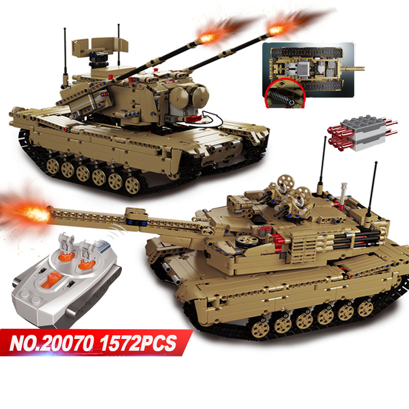 2018 Technics Modern Military Ww2 Radion Remote Control Tank Moc Building Block Model Bricks Rc Toys Collection for Boys Gifts hot modern military china aircraft liangning varyag carrier moc building block 1 525 scale model 1355pcs bricks toys collection