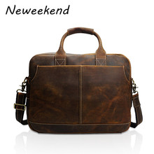 NEEWEEKEND Business Genuine Leather Multifuctional Large Pockets Handbag Shoulders Crossbody 15 Inch Laptop Bag for Man 8013