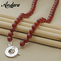 ANDARA Fashion Pearl Necklace Silver 925 Jewelry Imitation Red Pearls Chokers Necklace Breath Gift Romantic Long Necklace N089