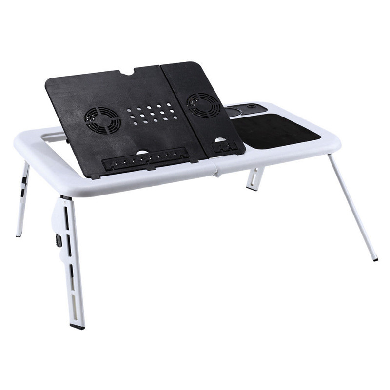 portable adjustable foldable laptop stand and desk for bed with usb cooling fans
