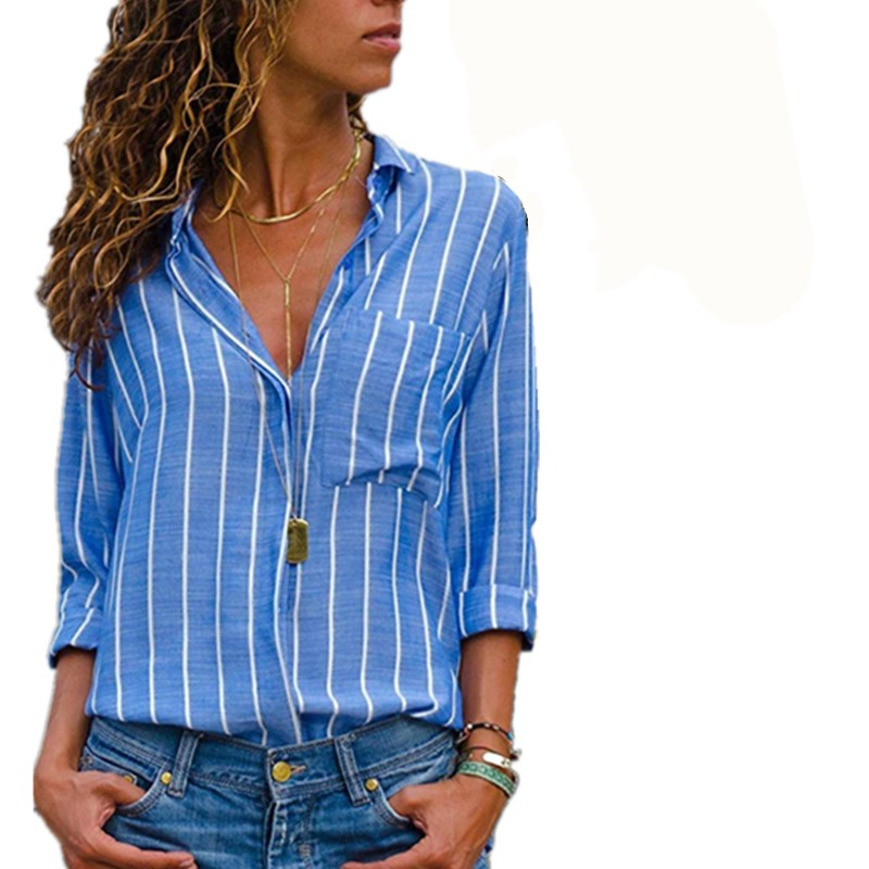 Lossky Women's Striped   Blouse   Womens Tops And   Blouses   Long Sleeves Women Blusas Mujer De Moda 2018 Autumn V Neck   Blouse     Shirt