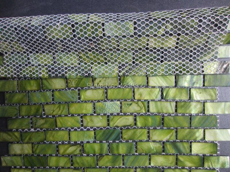 Groene Mozaiek Tegels : 15*30*2 parelmoer shell mozaïek tegels; groene baksteen tegel