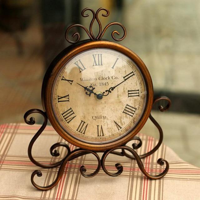 Retro European Wrought Iron Craft Clock Bronze Gold Mute Table Clock  Handicraft Clocks Vintage Needle Clocks