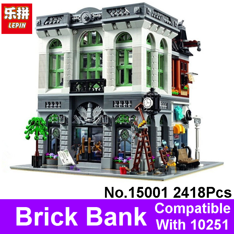 New 2413Pcs LEPIN 15001 Brick Bank Model Building Kits Blocks Sets Bricks Compatible With 10251 Toy For Children Christmas Gift lepin 16014 1230pcs space shuttle expedition model building kits set blocks bricks compatible with lego gift kid children toy