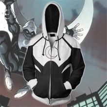 Anime Moon Knight Hoodie Men and Women Zipper Hoodies Superhero 3d Print Hooded Jacket for Boys Harajuku Streetwear Cosplay