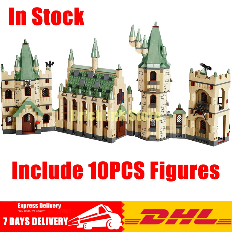 DHL LEPIN 16030 1340Pcs Creative Movies The Hogwarts castle Set Children Educational Building Blocks Bricks Toys Model 4842 lepin 16030 1340pcs movie series hogwarts city model building blocks bricks toys for children pirate caribbean gift