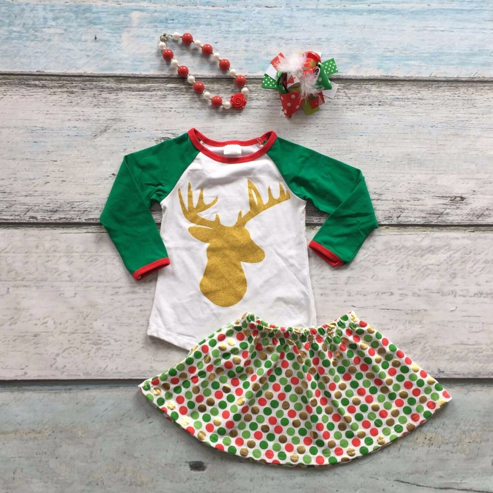 Christmas Fall/winter baby girls clothing long sleeve reindeer boutique outfits top dot skirts with matching bow and necklace frank buytendijk dealing with dilemmas where business analytics fall short