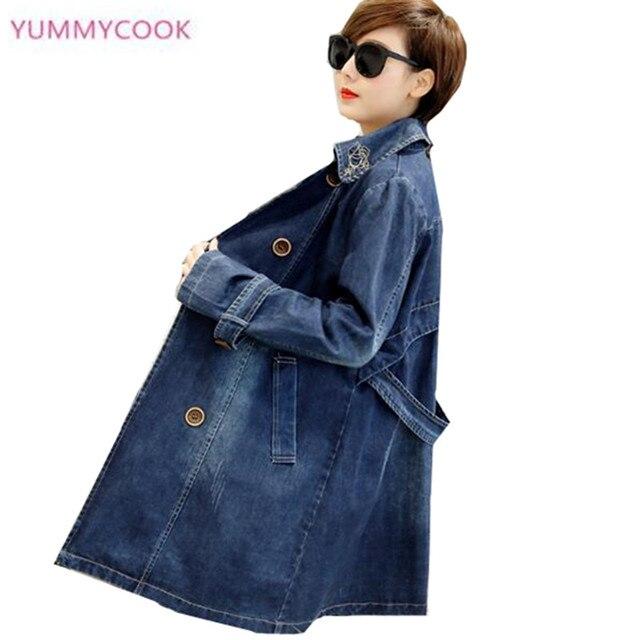 1986efaef US $28.34 55% OFF|2018 Autumn Plus Size Bomber Jacket Women Denim Jacket  4XL 5XL Vintage Long Sleeves Slim Jeans Jacket Coat Casual Outerwear Y12-in  ...