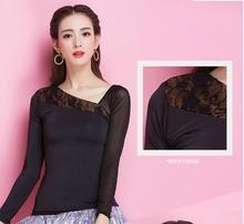 long sleeve black irregular neck flamenco  ballroom Latin yc1265 top blouse  practice dance S-XXL