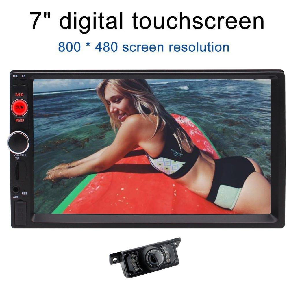 Rear View camera+Double 2 Din 7 Car Stereo MP5 Player In Dash FM Radio Audio 1080P Video Player Support Bluetooth/USB/TF/AV-IN universal 2 din car video player auto audio stereo mp5 player 7 2din car dvd player usb fm bluetooth support rear view camera