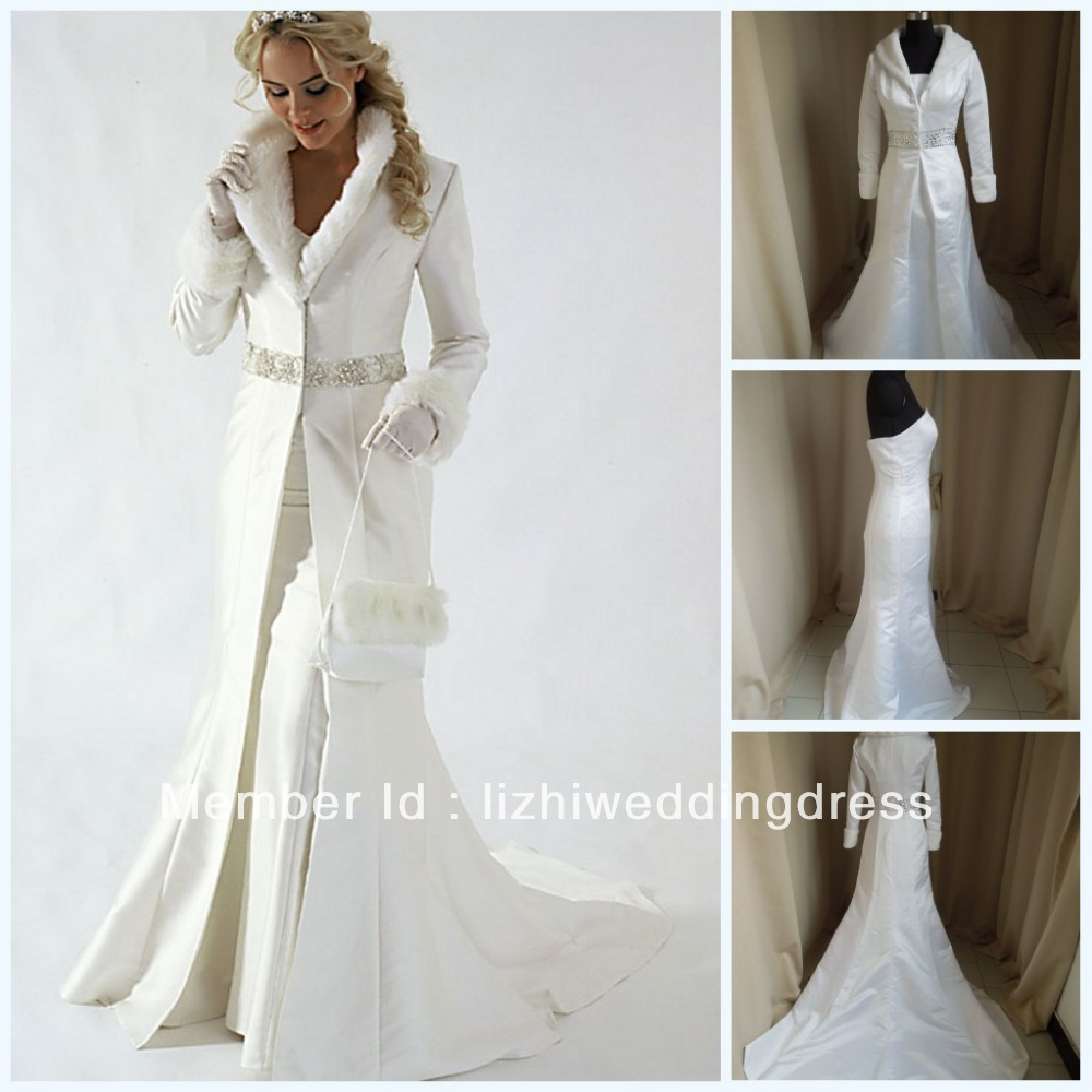 2017 New 2 Pieces White Winter Wedding Dresses With Coat