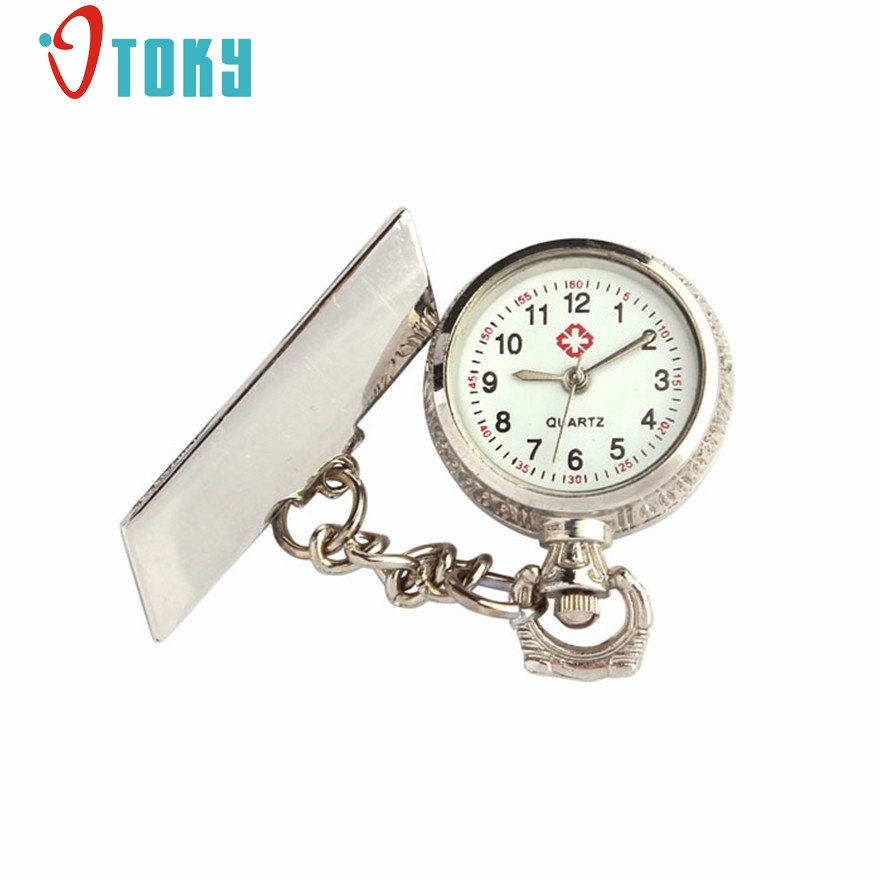 OTOKY Stainless Steel Arabic Numerals Quartz Brooch Doctor Nurse Pocket Watch #20 Gift 1pcs old antique bronze doctor who theme quartz pendant pocket watch with chain necklace free shipping