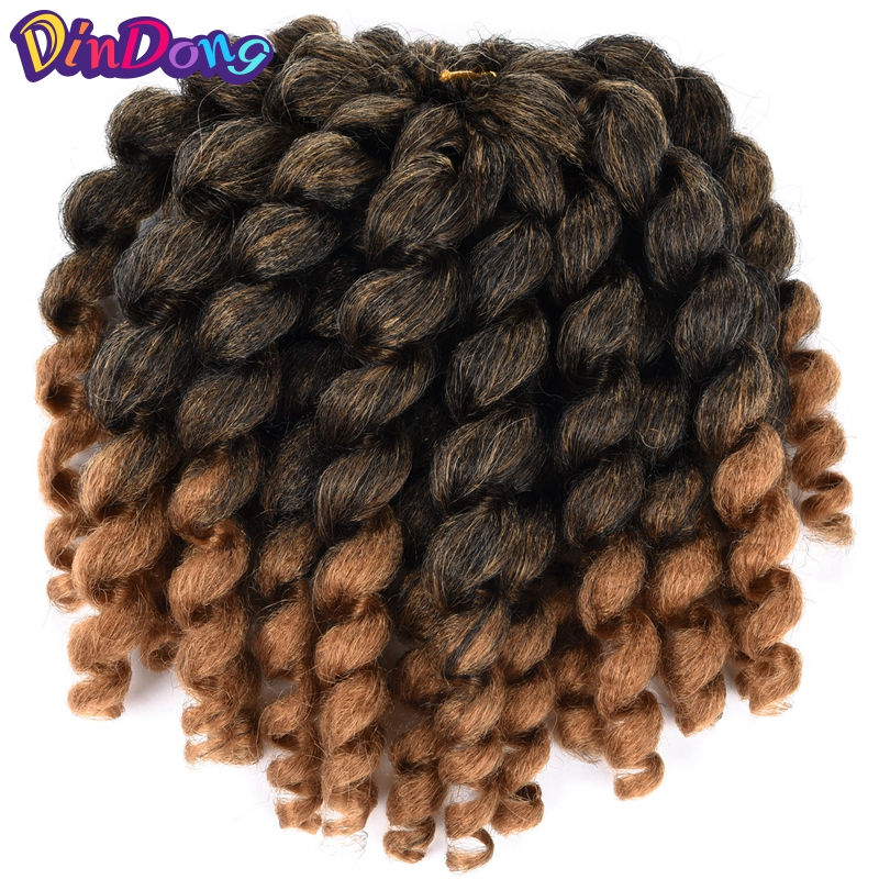 DinDong 8'' 22 Strands Jumpy Wand Curl Jamaican Bounce Synthetic Braiding Hair Extension Crochet Braid Hair For Woman