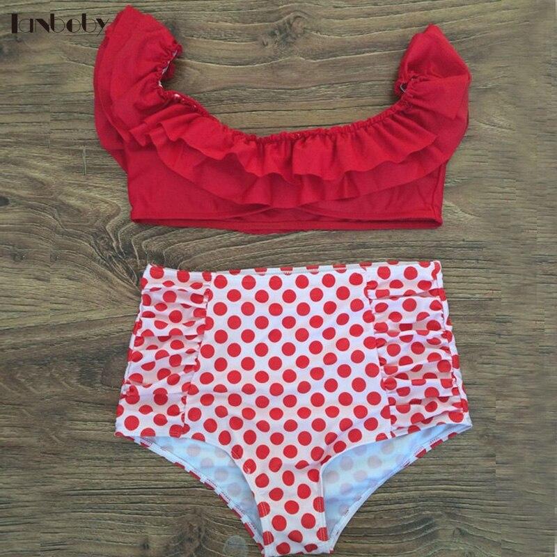 Biquinis Set 2017 Swimsuits High Waisted Bikini Red Small Cup Waist Dot Bottoms Bathing