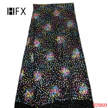 HFX African Lace Fabric 2019 quality embroidered tulle lace fabric with sequins Nigerian french F2060