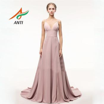 ANTI Rosa Sexy cuello en V Spaghetti Correa vestido de noche largo 2019 nueva llegada Tribunal tren de línea alta hendidura Formal vestido de fiesta personalizado