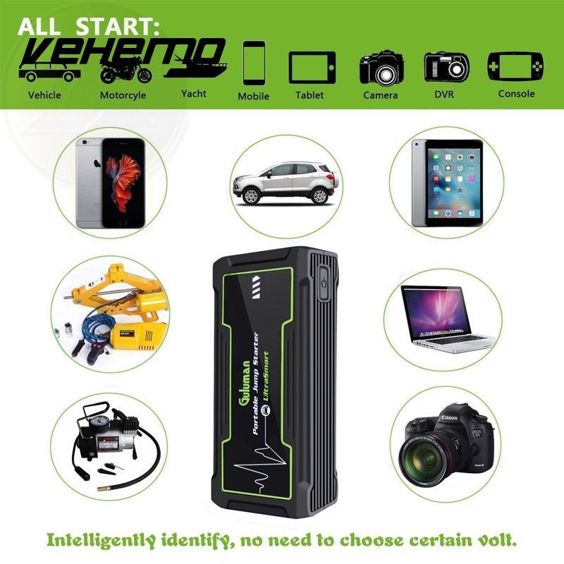 Vehemo batterie externe démarreur de saut de batterie de secours démarreur de saut 16800 mAh 800A Peak chargeur de batterie noir Portable professionnel