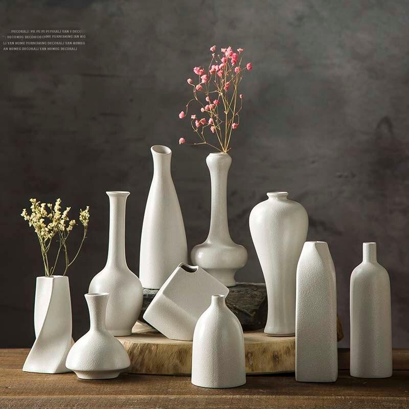 Ceramic Retro Simple Creative Desktop Small Ceramic Black White Coarse Pottery Vase Hydroponic Room Decoration Home Furnishing