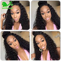 Natural Hair Curly Wigs For Black Women Brazilian Full Lace Human Hair Wig With Baby Hair Glueless Lace Front High Ponytail Wigs